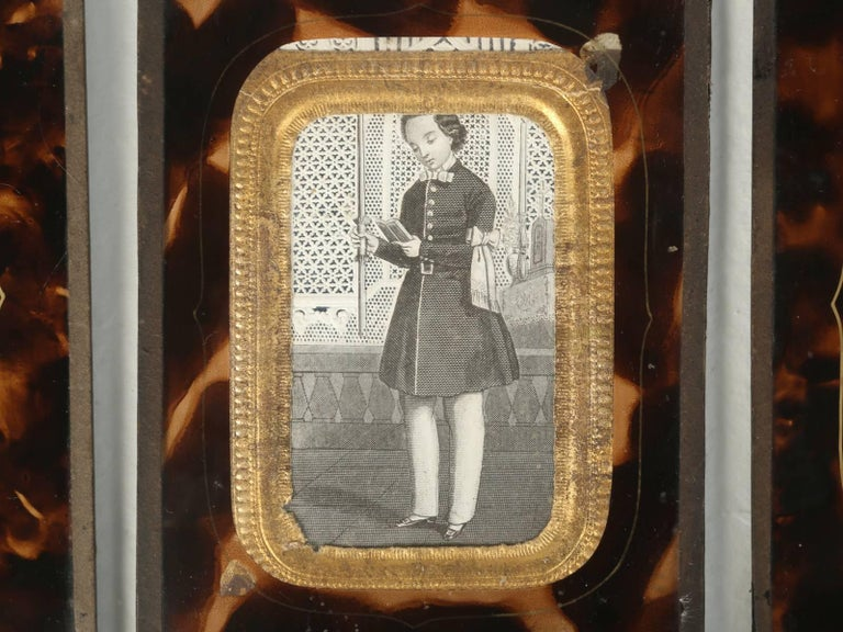 Set of Six Antique French Faux Tortoiseshell Glass Picture Frames For Sale 2
