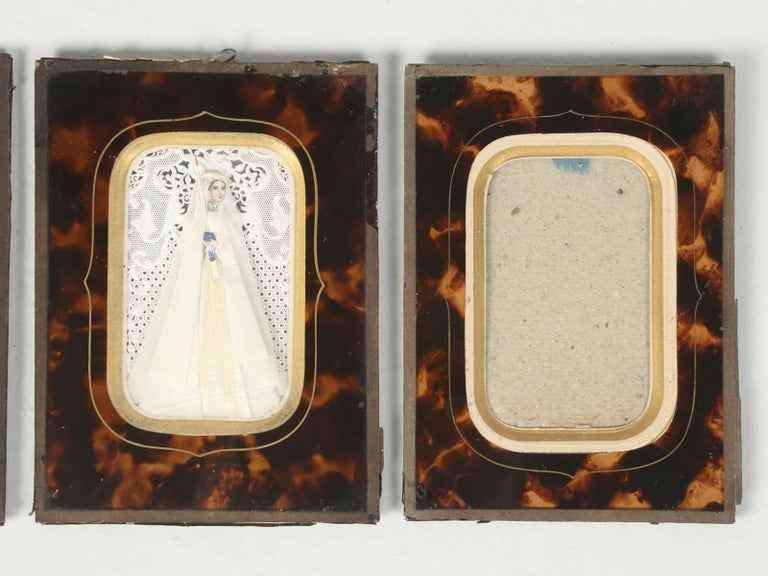 Set of Six Antique French Faux Tortoiseshell Glass Picture Frames For Sale 3