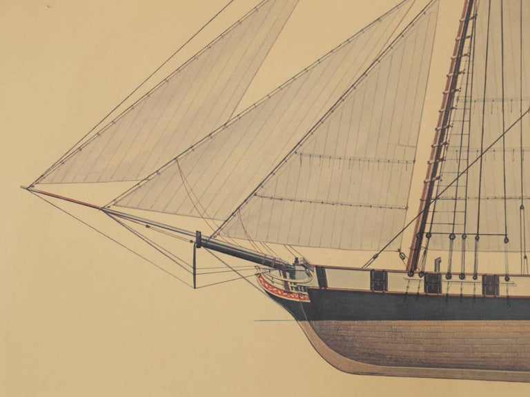 American Print of a Sailing Ship from the Glenview Naval Air Station For Sale