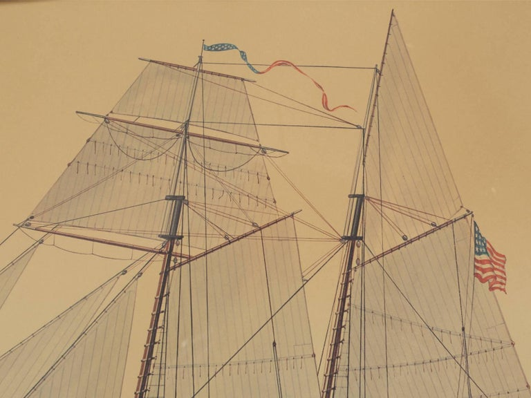 Print of a Sailing Ship from the Glenview Naval Air Station In Good Condition For Sale In Chicago, IL