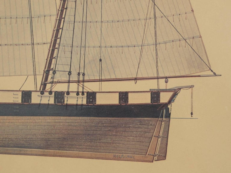 20th Century Print of a Sailing Ship from the Glenview Naval Air Station For Sale