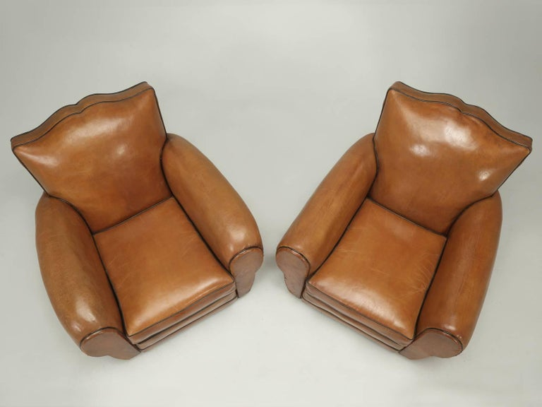 Mid-20th Century French Club Chairs in Their Original Leather, Fully Restored For Sale
