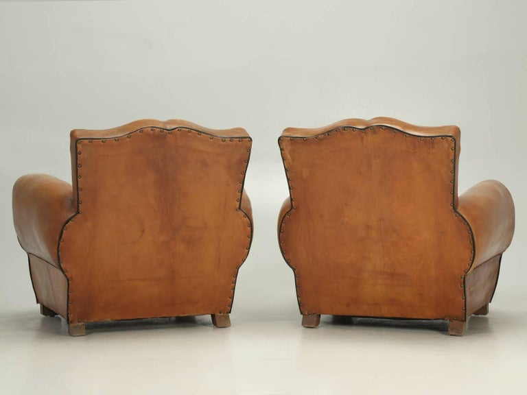 French Club Chairs in Their Original Leather, Fully Restored For Sale 5