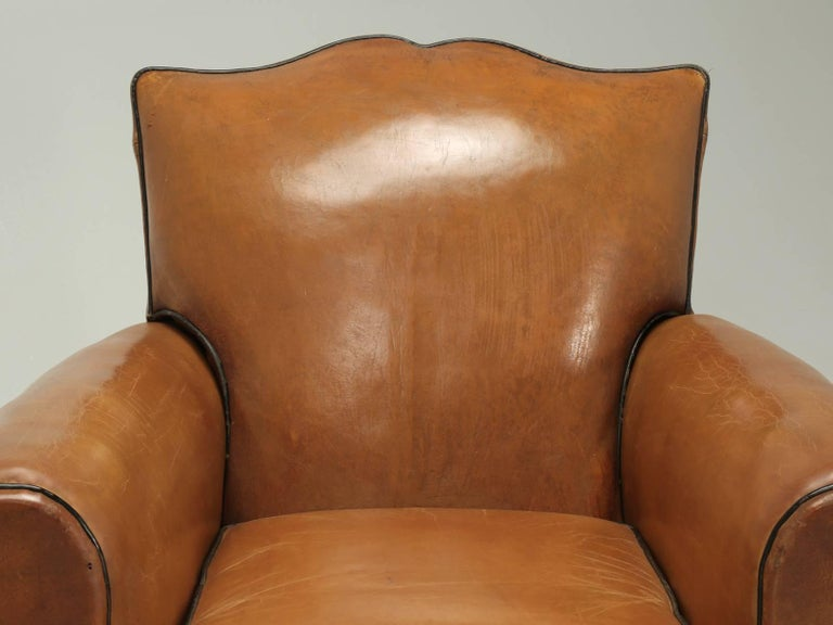 Art Deco French Club Chairs in Their Original Leather, Fully Restored For Sale