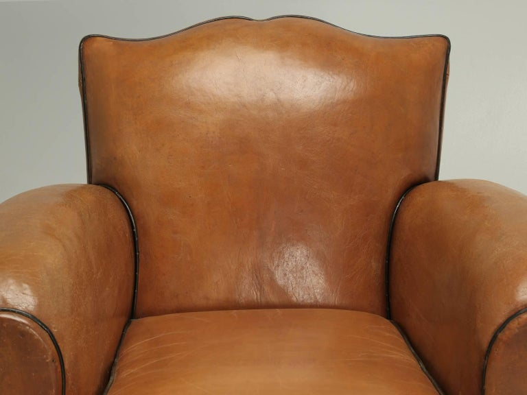 """French Leather Club Chairs and nothing says it any clearer, than a pair of """"Moustache Style"""" French club chairs. The moustache style club chair, has been for decades, the most desirable and sought-after design and to find a pair in this condition,"""