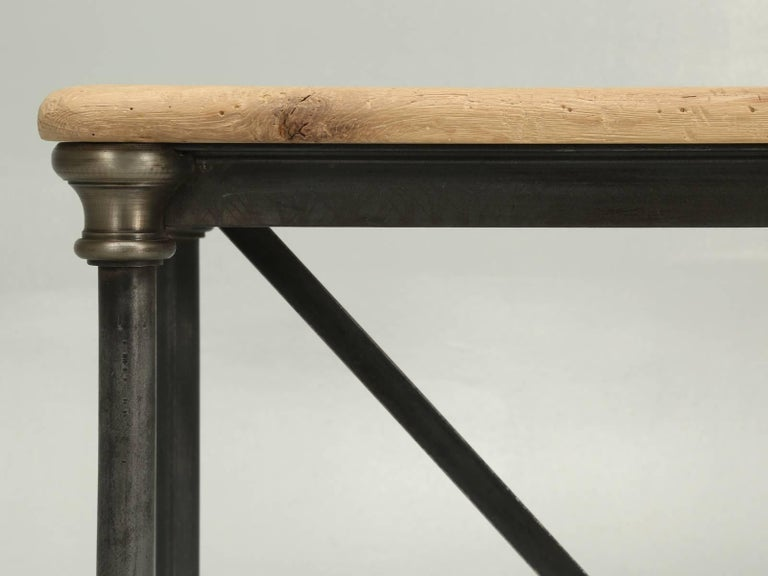 French Imported White Oak And Steel Small Console Table