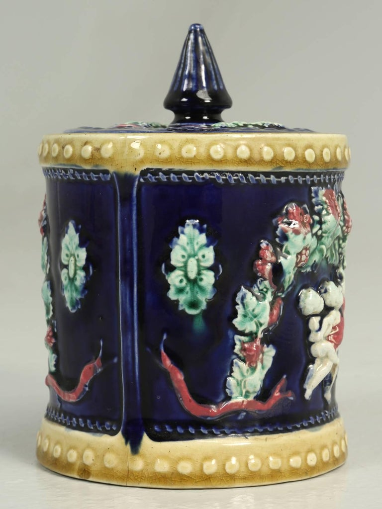 Antique English Condensed Milk Container is a Deep Cobalt Blue In Excellent Condition For Sale In Chicago, IL