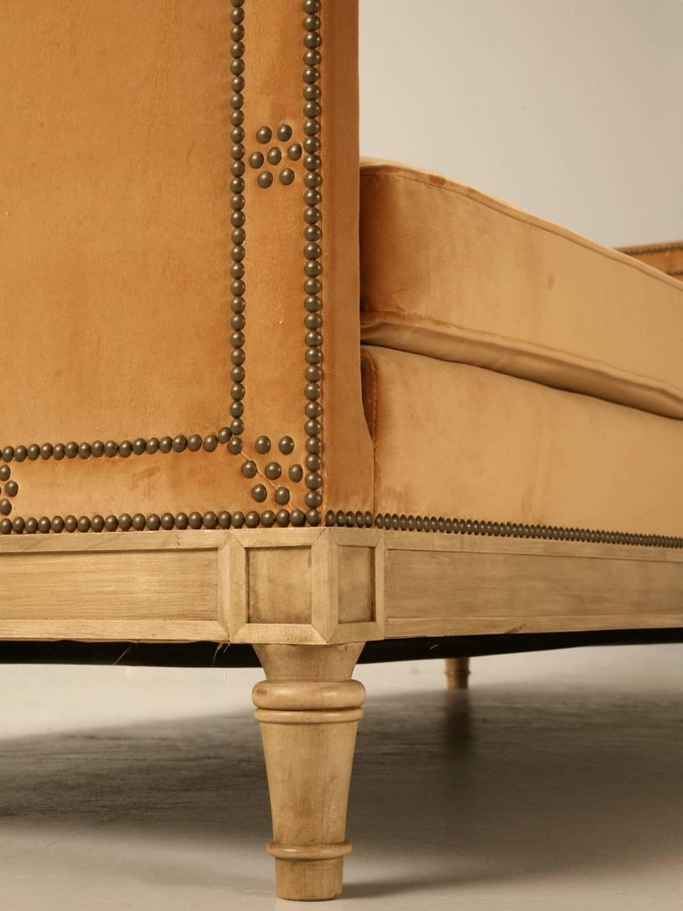 Wood Custom Old Plank Upholstered Daybed Made to Order in our in House Workshop For Sale