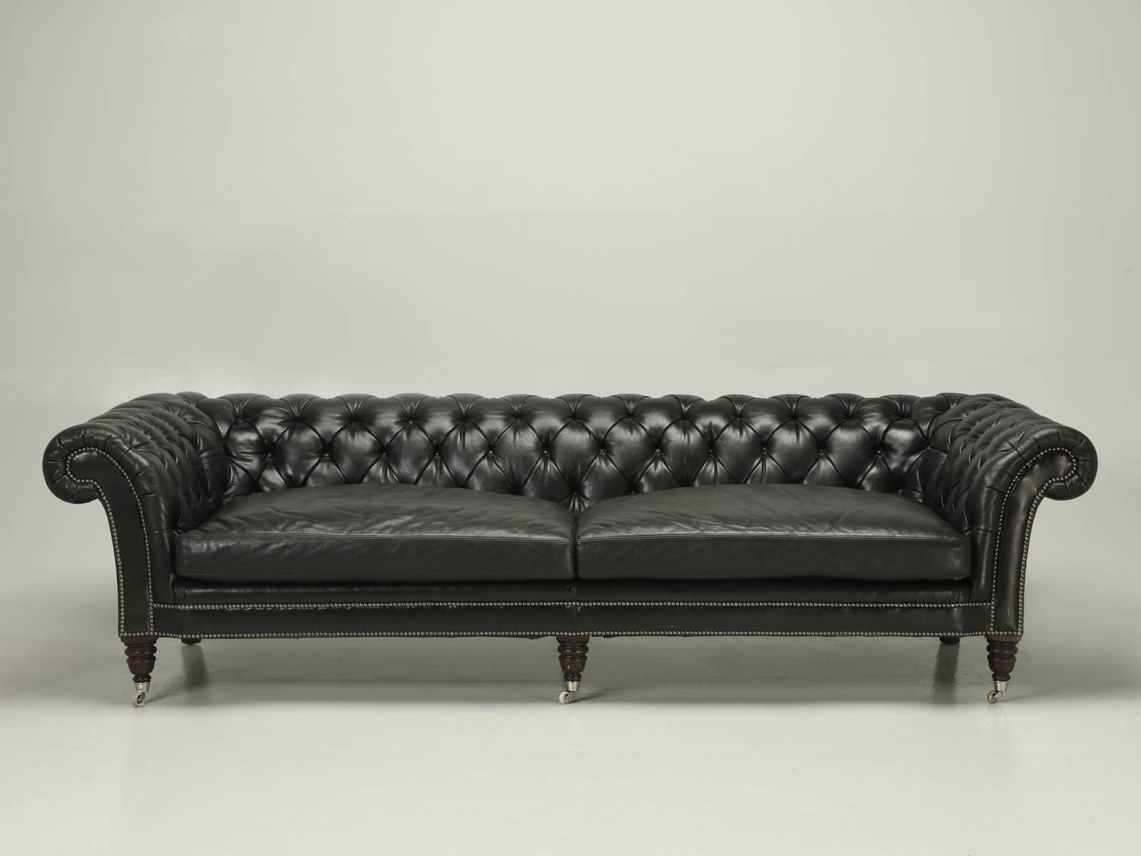 ralph lauren black leather chesterfield style sofa from paris at rh 1stdibs com Black Chesterfield Sofa Martha Stewart Chesterfield Sofa