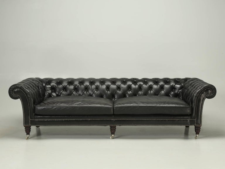 Incredible Black Leather Ralph Lauren Chesterfield Style Sofa That Was Recently Purchased In Paris
