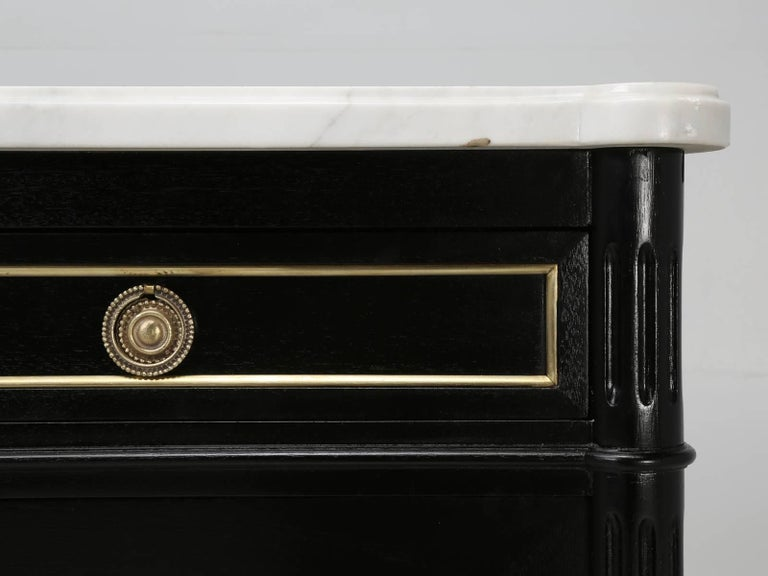 French Louis XVI Style Ebonized Buffet, with Marble Top For Sale 3