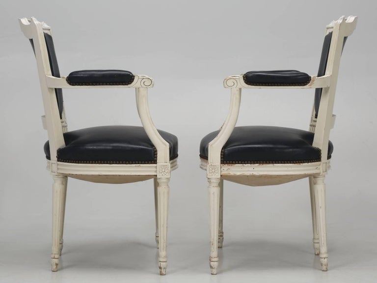 Set of Eight Louis XVI Style French Dining Chairs For Sale 14