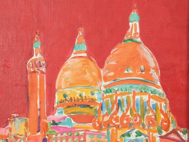 Late 20th Century Acrylic Painting Attributed to French Artist Roland David For Sale