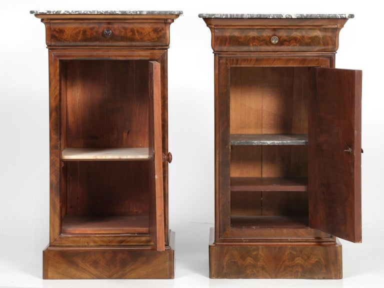 Antique French Mahogany, Louis Philippe Style Nightstands or End Tables For Sale 8