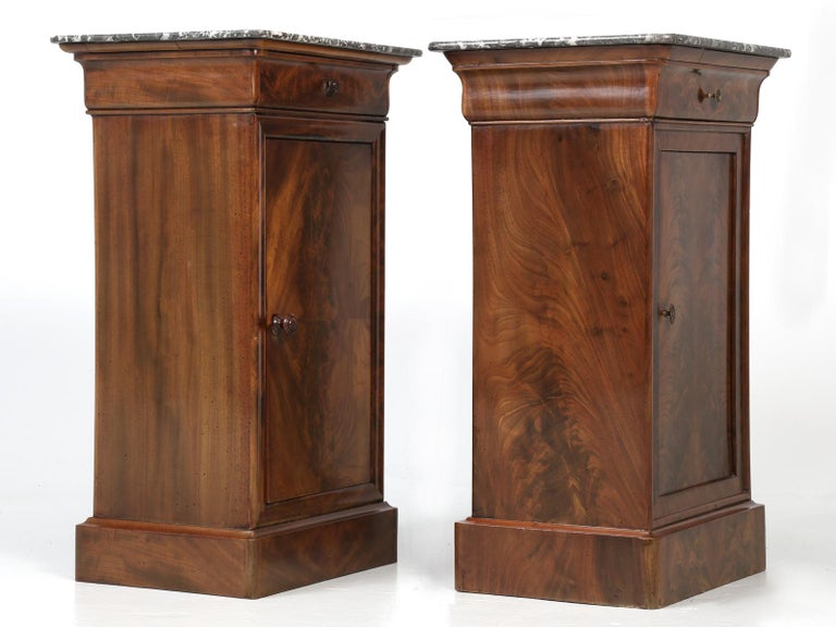 Antique French Mahogany, Louis Philippe Style Nightstands or End Tables For Sale 11