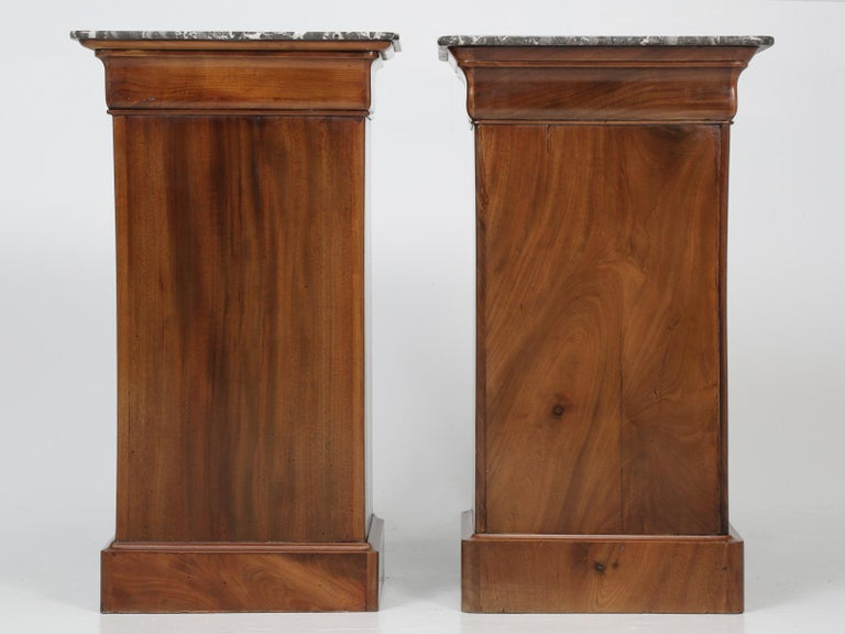 Antique French Mahogany, Louis Philippe Style Nightstands or End Tables For Sale 12