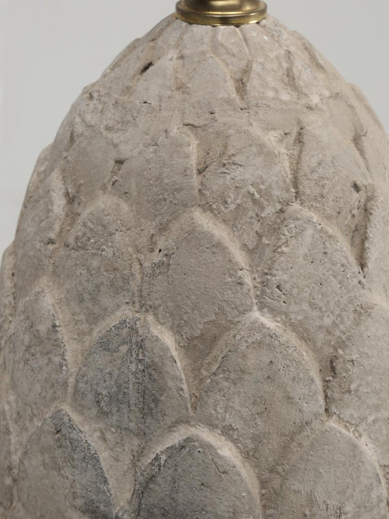 Pair of Faux Stone Lamps in the Form of an Artichoke For Sale 2