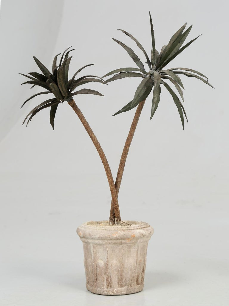 French Metal Palm Trees in Clay Pots In Good Condition For Sale In Chicago, IL