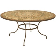 Vintage French Mosaic Garden Table, Seats Up to Nine People