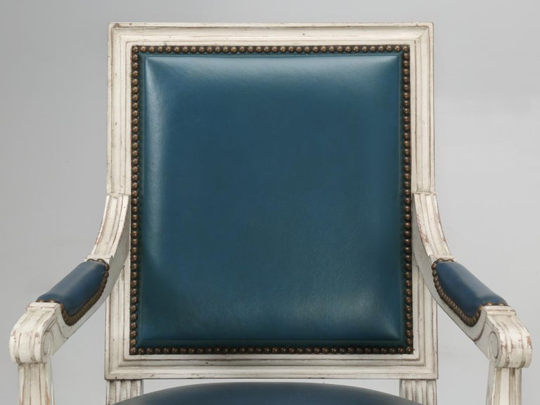 French Louis XVI Style Arm chairs Custom Dyed Blue Leather, Side chair Available In New Condition For Sale In Chicago, IL