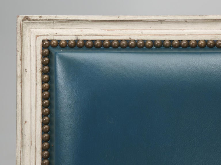 Contemporary French Louis XVI Style Arm chairs Custom Dyed Blue Leather, Side chair Available For Sale