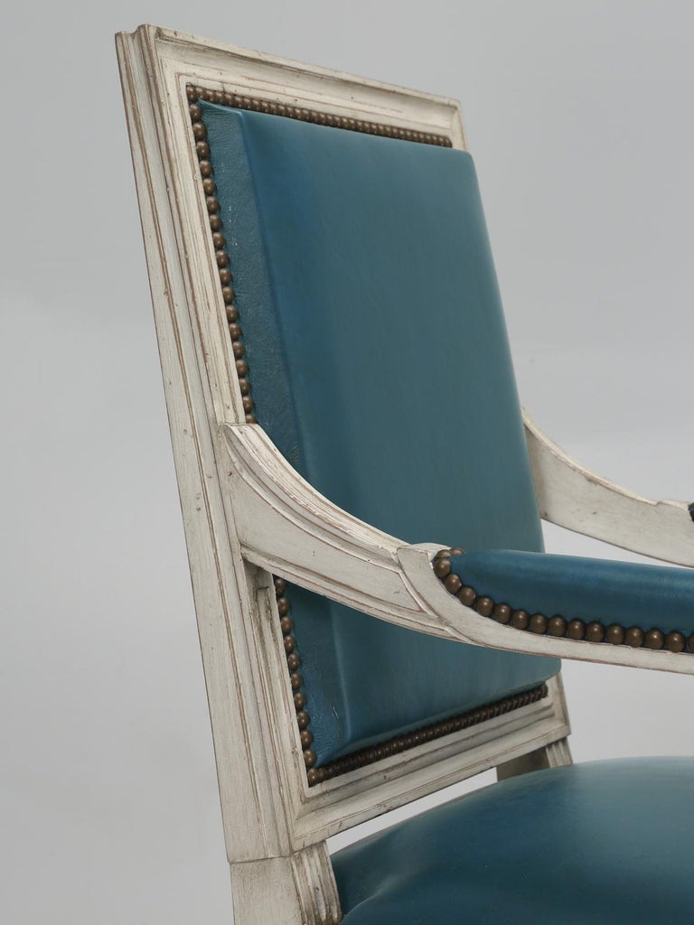 Beech French Louis XVI Style Arm chairs Custom Dyed Blue Leather, Side chair Available For Sale