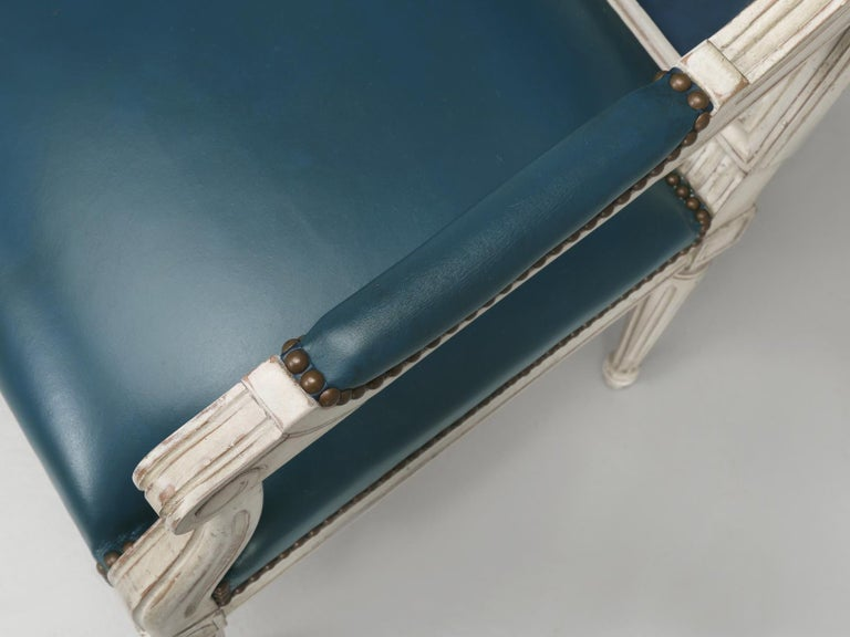 French Louis XVI Style Arm chairs Custom Dyed Blue Leather, Side chair Available For Sale 1