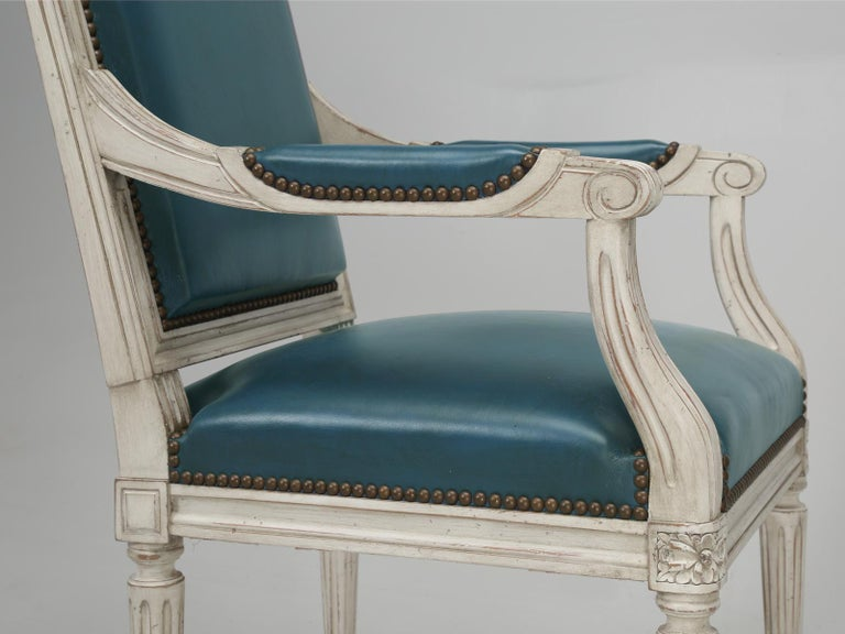 French Louis XVI Style Arm chairs Custom Dyed Blue Leather, Side chair Available For Sale 3