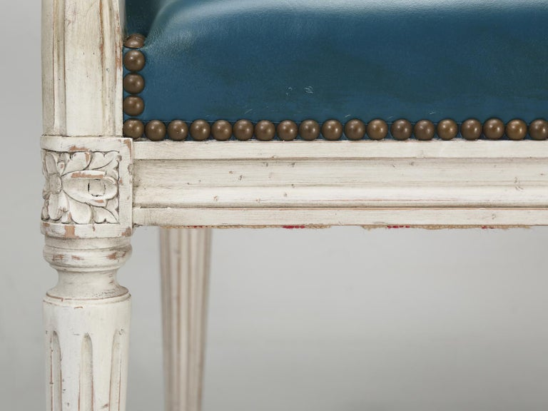 French Louis XVI Style Arm chairs Custom Dyed Blue Leather, Side chair Available For Sale 4