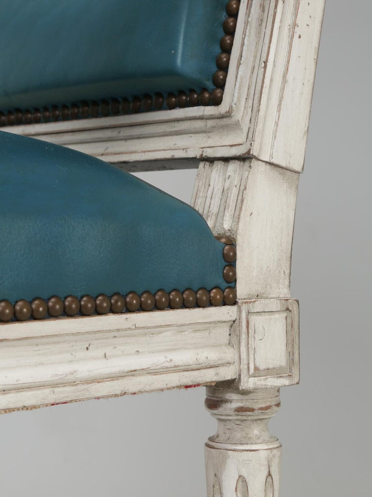 French Louis XVI Style Arm chairs Custom Dyed Blue Leather, Side chair Available For Sale 6