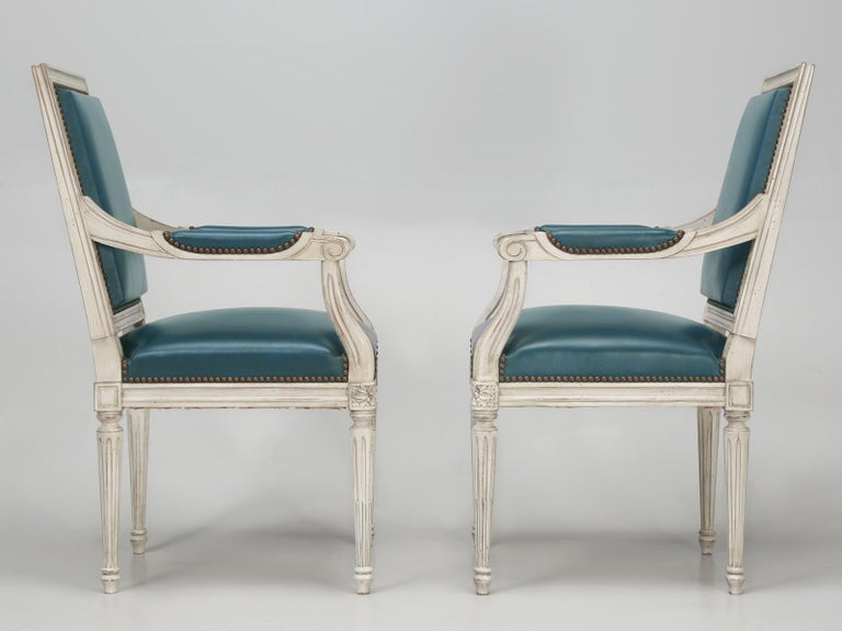 French Louis XVI Style Arm chairs Custom Dyed Blue Leather, Side chair Available For Sale 8