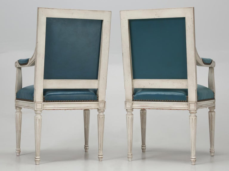 French Louis XVI Style Arm chairs Custom Dyed Blue Leather, Side chair Available For Sale 9