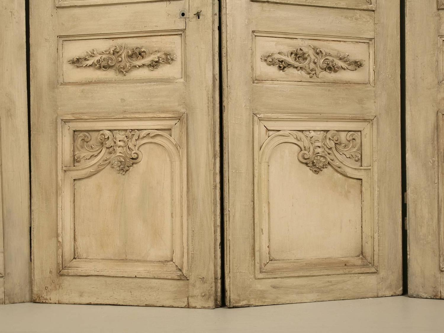 Antique French Set of Eight Carved Doors in Old Paint at 1stdibs