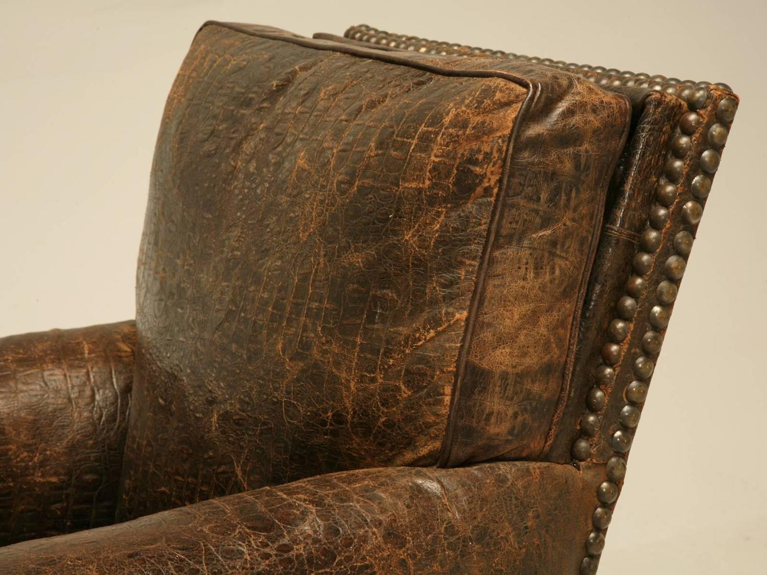 French Leather Club Chairs In Faux Crocodile For Sale At