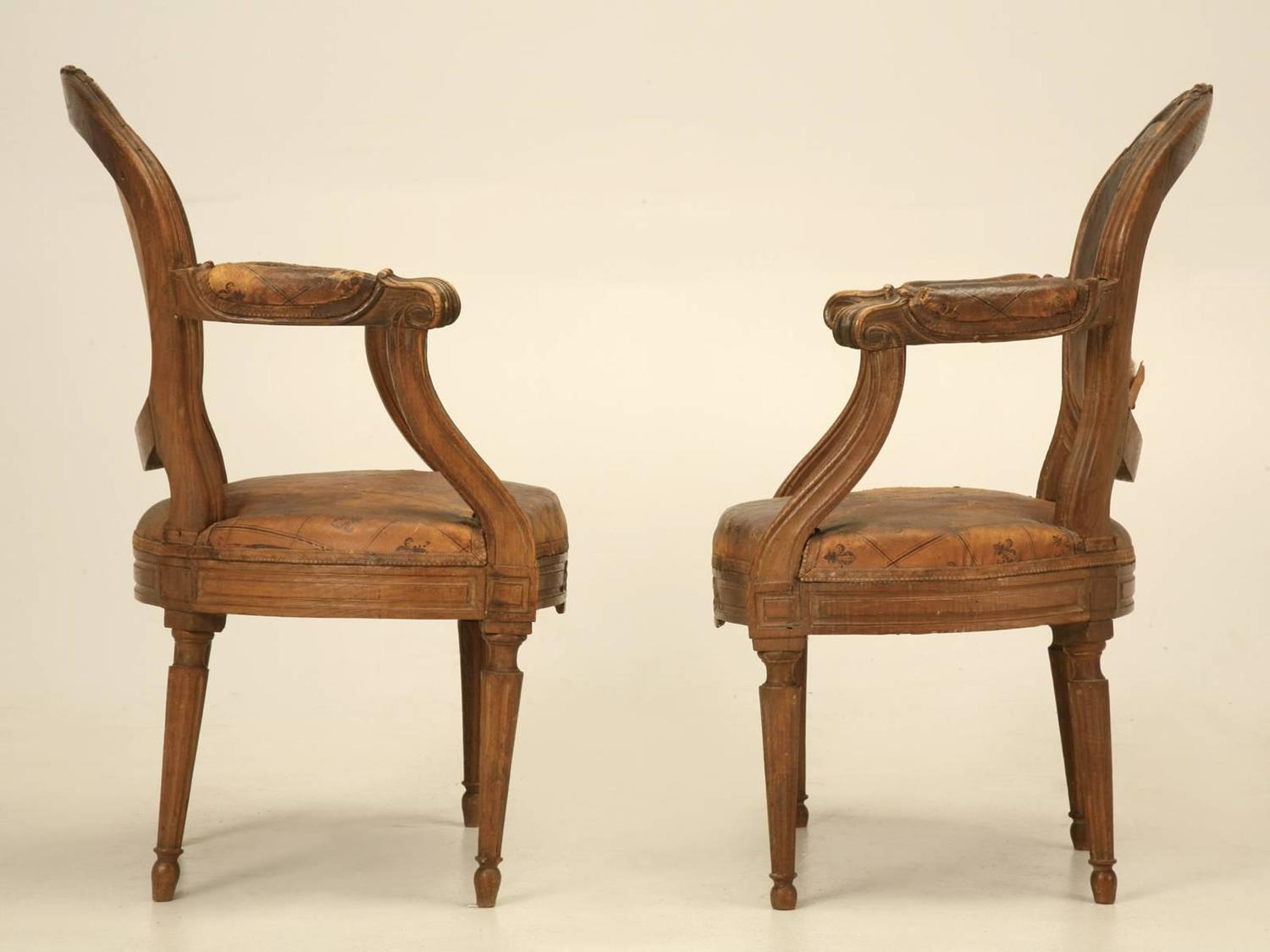 French louis xvi style armchairs in original leather for sale at