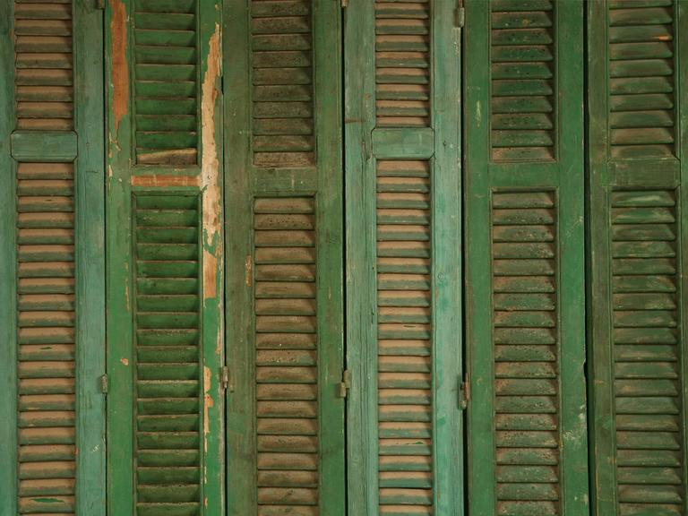 French Shutters in Original Paint In Fair Condition For Sale In Chicago, IL