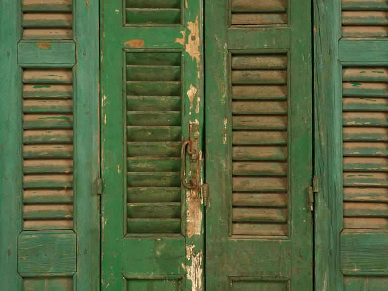 Mid-19th Century French Shutters in Original Paint For Sale