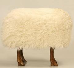 Bronze Sheep Ottoman with Real Fur