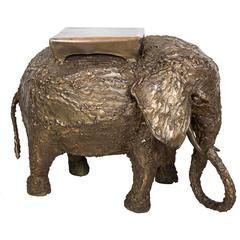Brutalist Brass Elephant Bench
