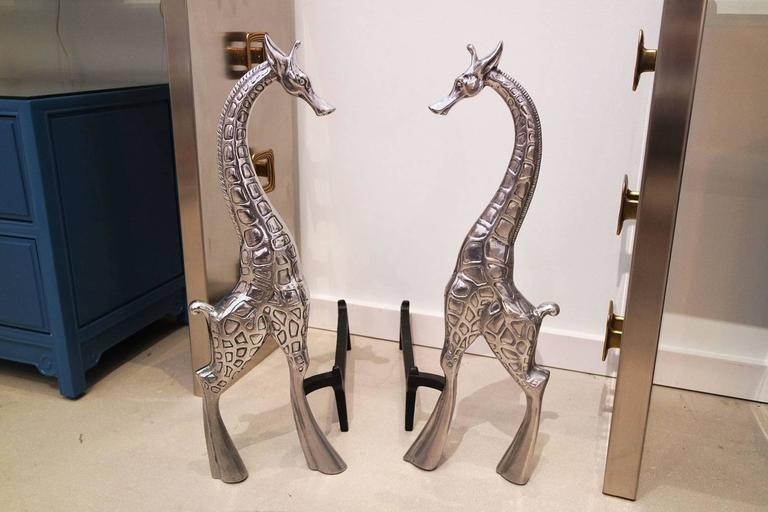 Pair of Arthur Court Giraffe Andirons 2