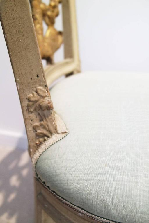 Pair of Italian Neoclassical Painted and Partial Gilt Side Chairs 10
