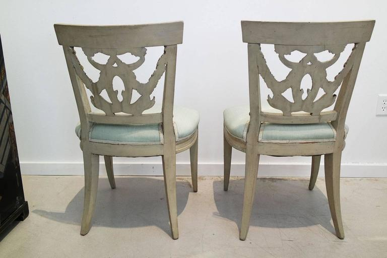 Giltwood Pair of Italian Neoclassical Painted and Partial Gilt Side Chairs For Sale