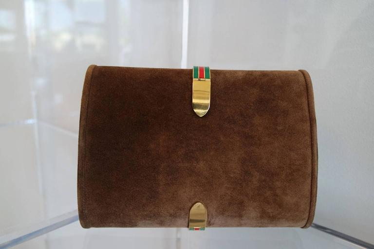 Vintage Brown Suede and Enamel Gucci Clutch 8