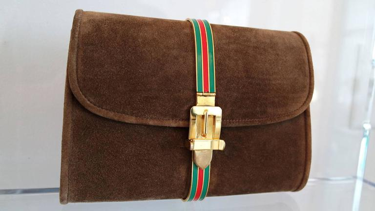 Vintage Brown Suede and Enamel Gucci Clutch 3