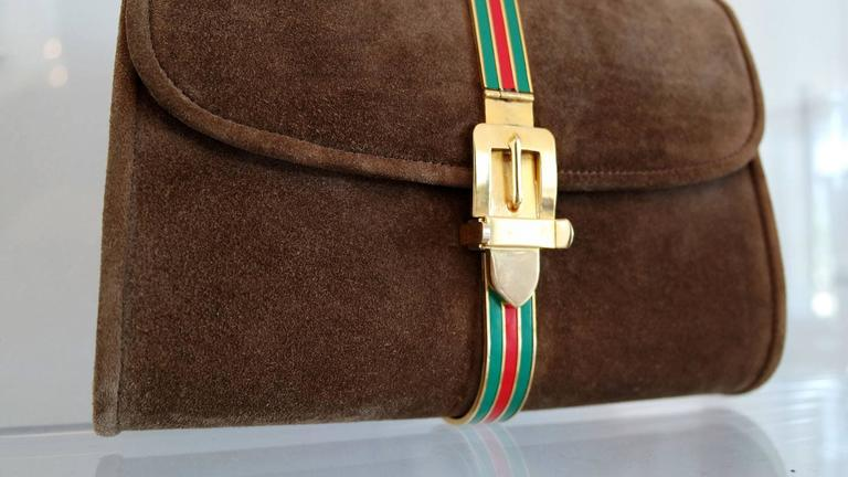 Vintage Brown Suede and Enamel Gucci Clutch 6