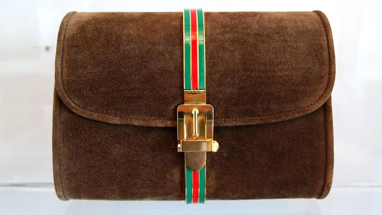 Vintage Brown Suede and Enamel Gucci Clutch 2