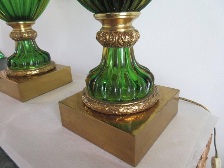 Large Pair of Vintage Green Murano Glass Marbro Lamps For Sale 1