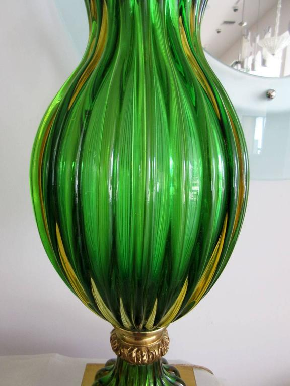 Mid-20th Century Large Pair of Vintage Green Murano Glass Marbro Lamps For Sale