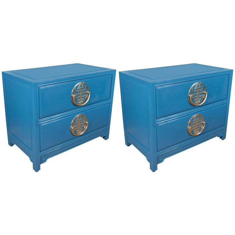 Pair of  Vintage Blue Lacquered Bedside Tables 1