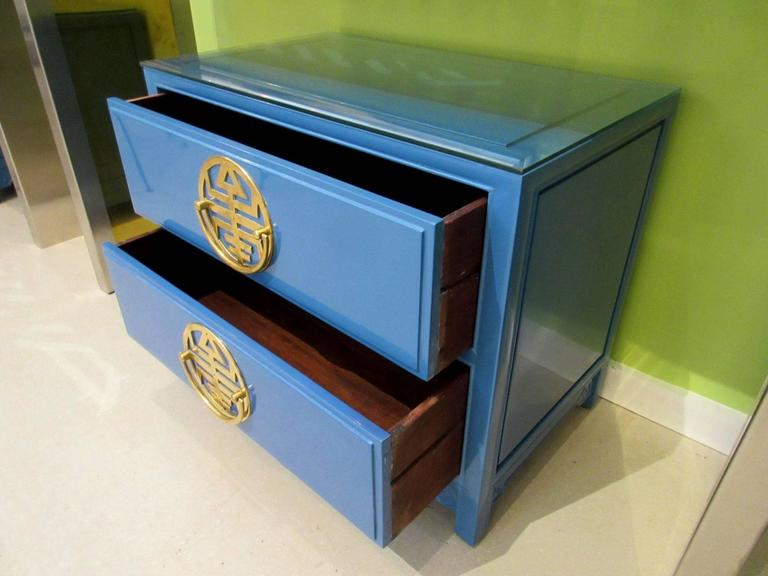 Pair of  Vintage Blue Lacquered Bedside Tables 3